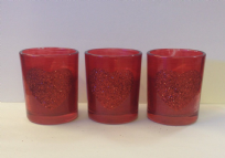 Glass Votive Red Candle with Glitter Heart x 3 ~ Valentines Christmas